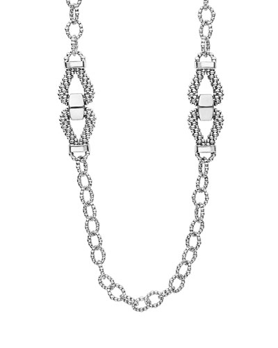 Derby Sterling Silver Caviar Station Necklace, 34