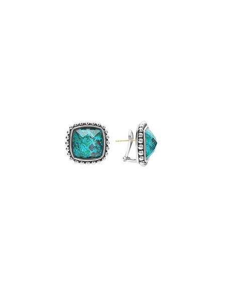 Lagos Maya Sliver Chrysocolla Square Earrings