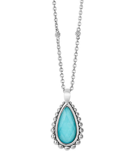 Lagos Maya Turquoise Teardrop Pendant Necklace