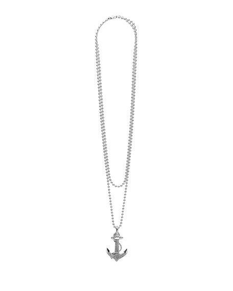 Signature Caviar Anchor Pendant Necklace