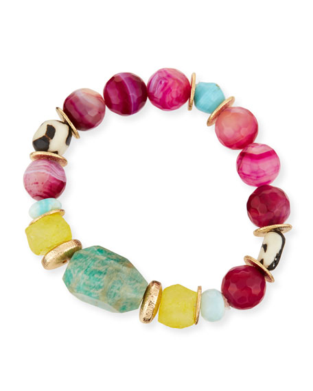 Purple Agate & Aquamarine Beaded Bracelet