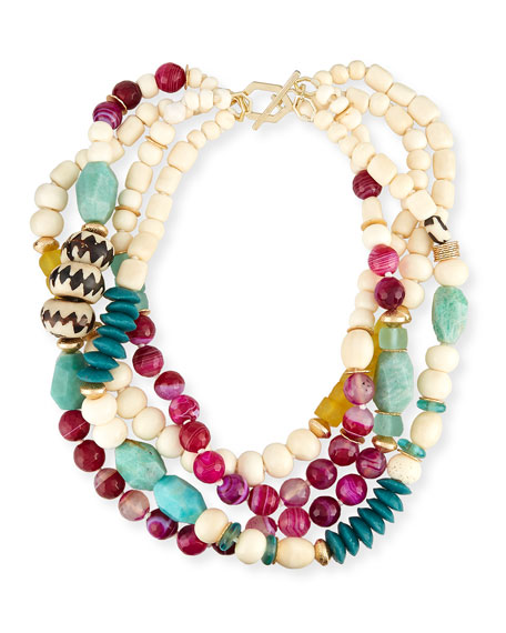 akola jewelry akola four strand bone agate necklace 1343