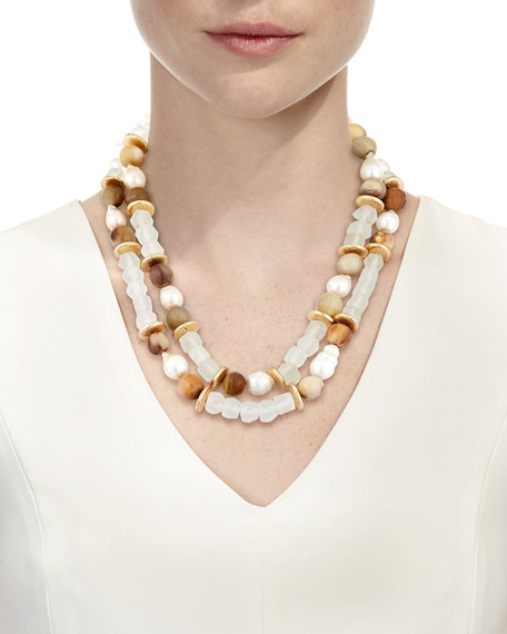 Pearl & Java Glass Beaded Bracelet