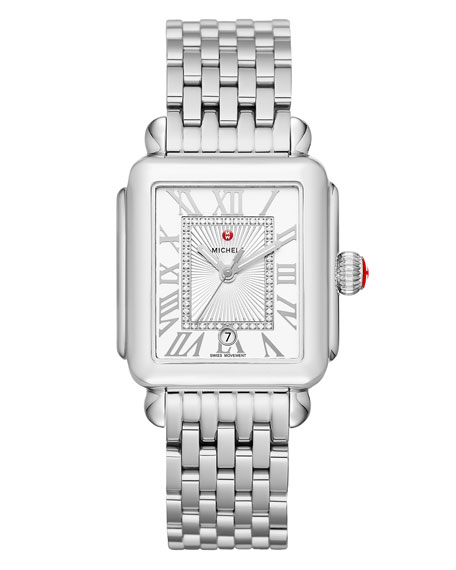 Deco Madison Stainless Steel Watch Head with Diamonds