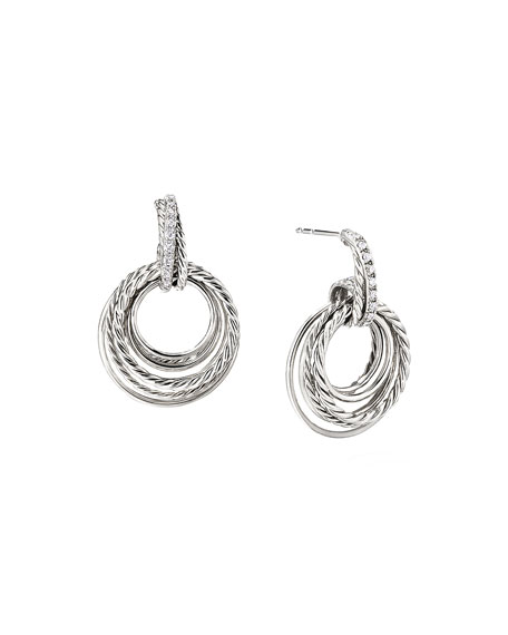 David Yurman Crossover Doorknocker Hoop Earrings with Diamonds