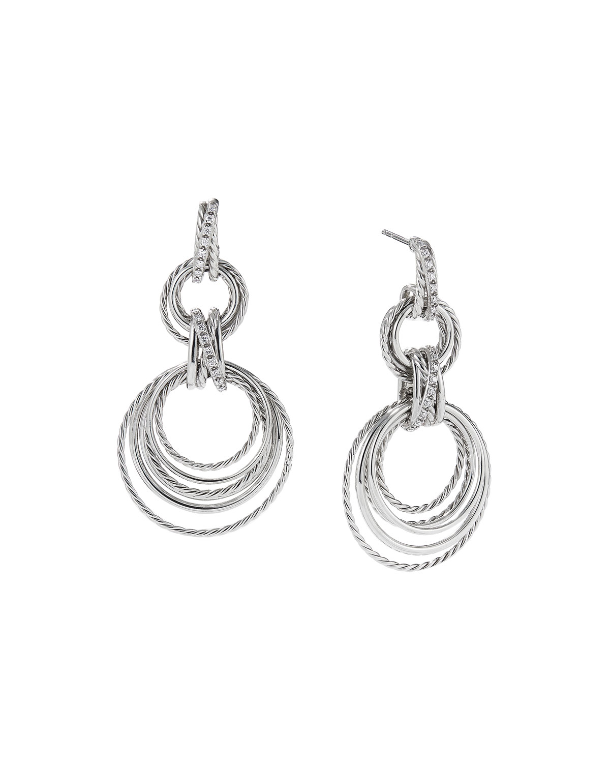 Crossover Double Hoop Drop Earrings With Diamonds
