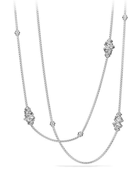 Crossover Sterling Silver Station Necklace with Diamonds, 36""
