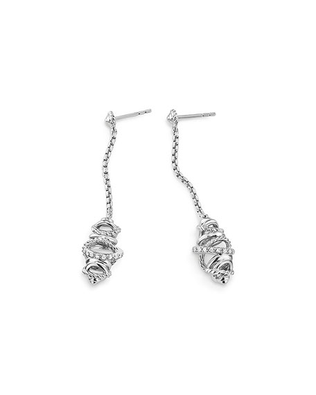 Sterling Silver Crossover Chain Drop Earrings with Diamonds