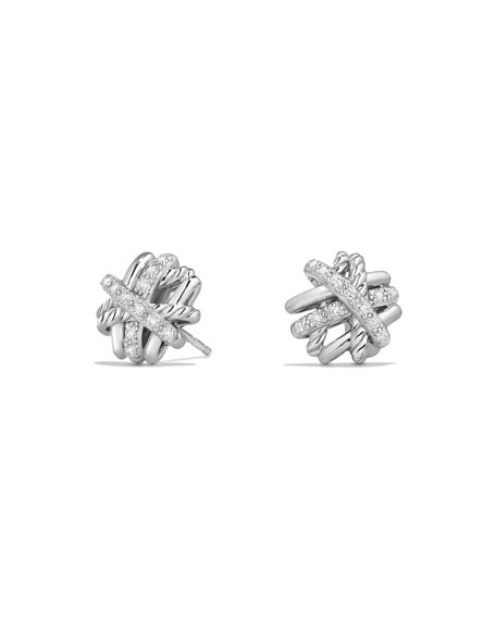 David Yurman Crossover Sterling Silver Earrings with Diamonds