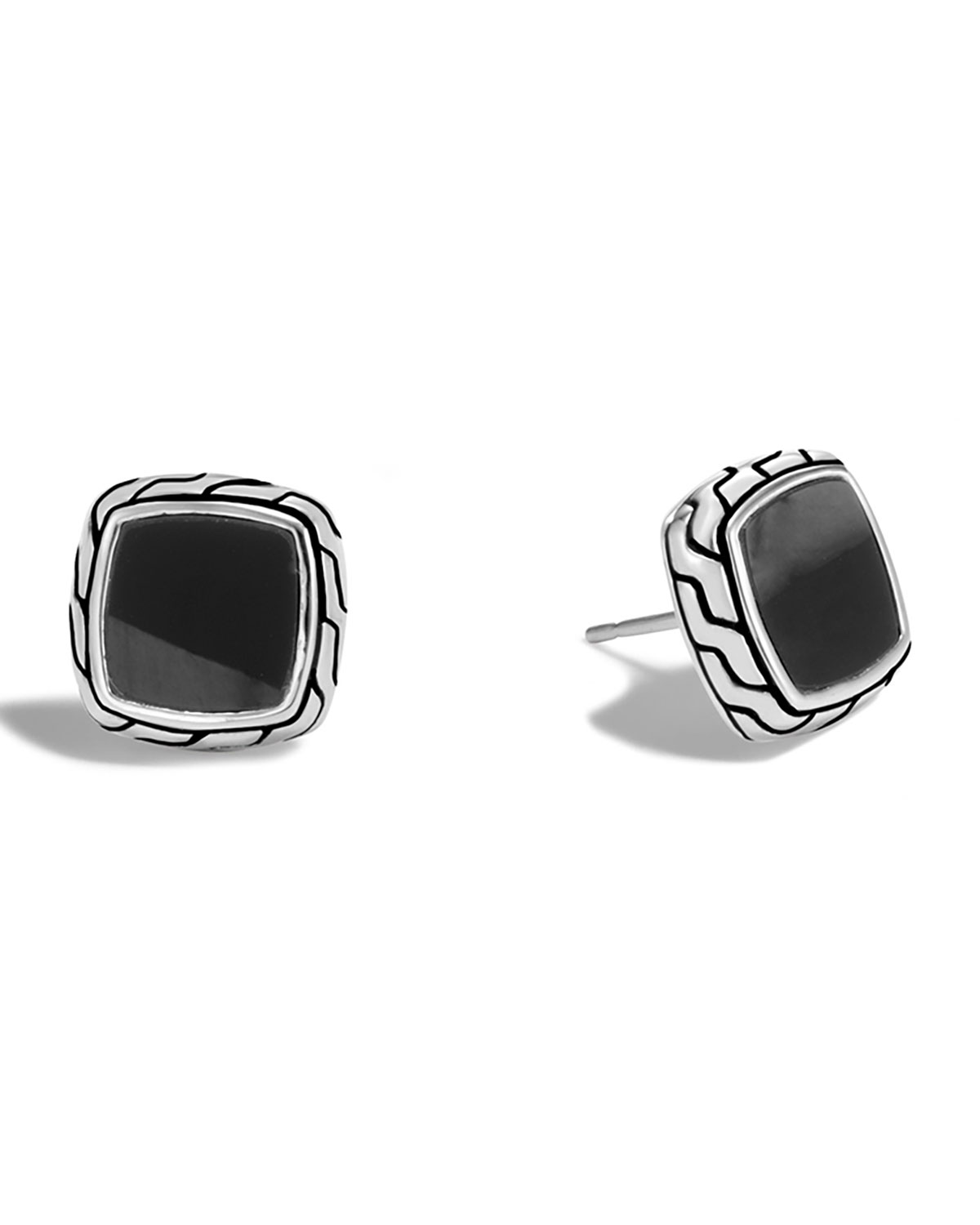 Clic Chain Black Onyx Stud Earrings