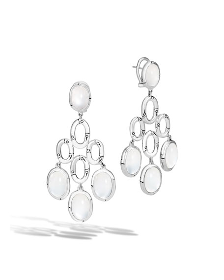 John Hardy Bamboo White Moonstone Chandelier Earrings