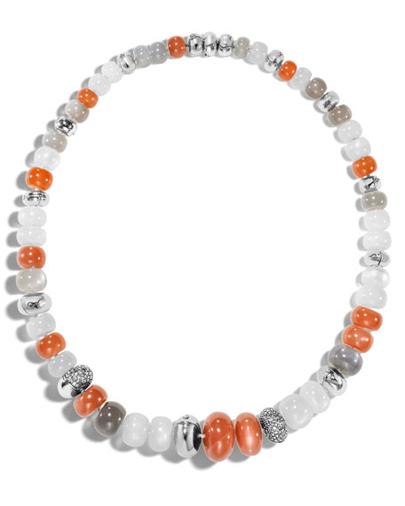 Bamboo Moonstone Beaded Necklace with Gray Diamonds