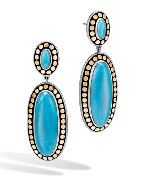 John Hardy Dot Oval Turquoise Drop Earrings