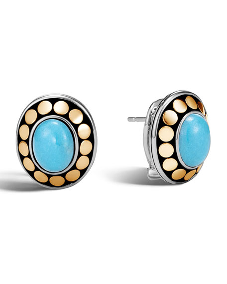 Dot Turquoise Cabochon Stud Earrings