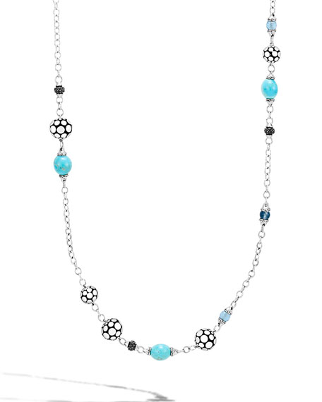 Dot Silver Sautoir Necklace with Turquoise & Sapphire, 36""