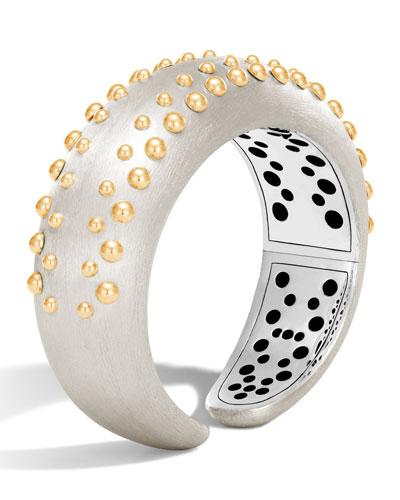 Dot Medium Silver & 18K Cuff Bracelet