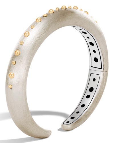 Dot Small Silver & 18K Single Line Cuff Bracelet