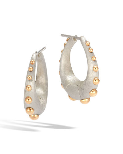 Dot Medium Silver & 18K Hoop Earrings