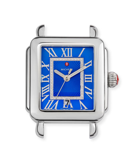 MICHELE Madison Watch Head with Diamonds, Silver/Cobalt