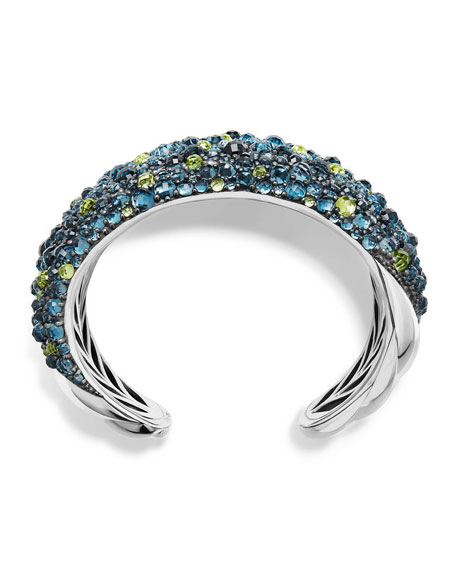 Osetra Mosaic Hampton Blue Topaz & Peridot Cuff Bracelet with Diamonds