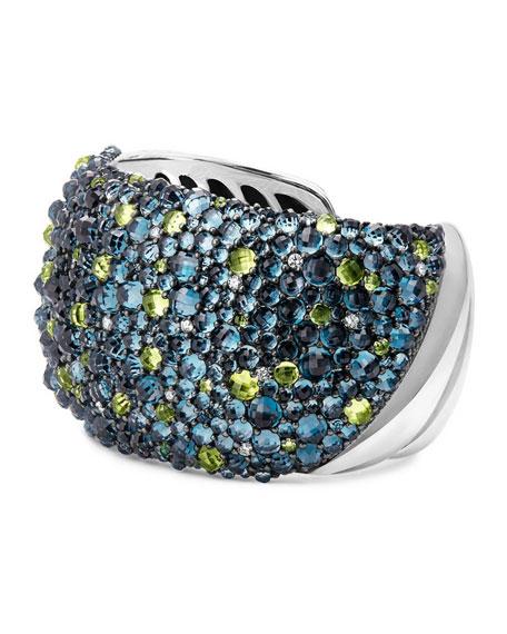 Osetra Mosaic Hampton Blue Topaz & Peridot Cuff Bracelet with Diamonds
