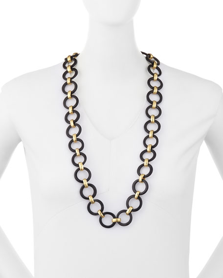 Mtego Round Dark Horn Link Necklace