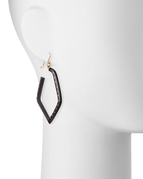 Awali Studded Dark Horn Hoop Earrings