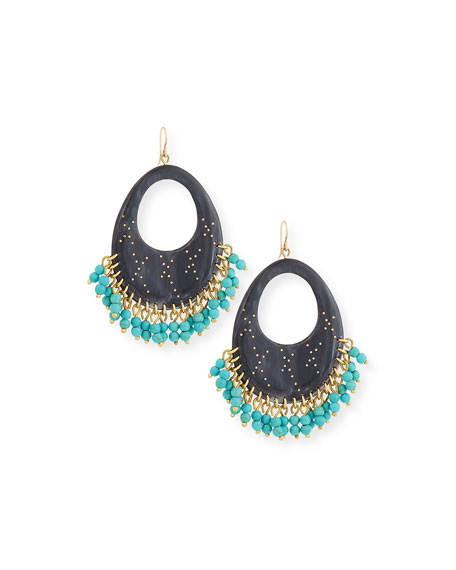 Vuka Beaded Dark Horn Earrings