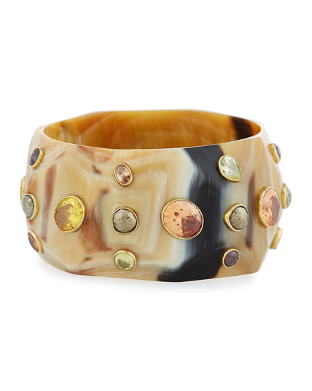 Ashley Pittman Lipua Faceted Light Horn Bangle