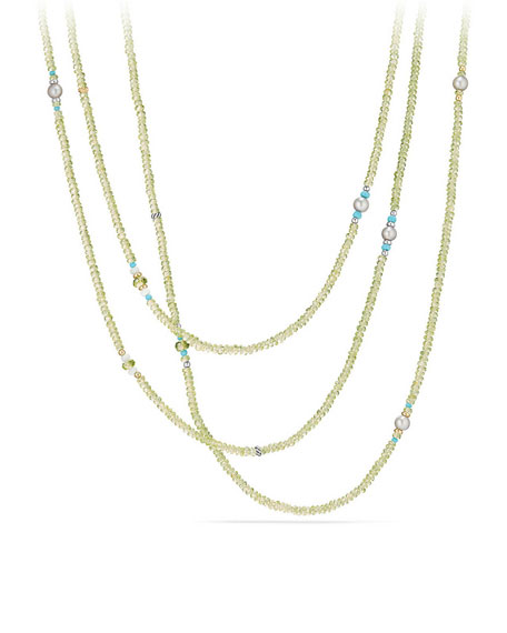 Mustique Tweejoux Peridot Long Beaded Necklace, 62""