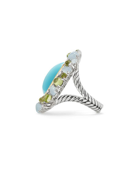 Mustique Cabochon Turquoise Flower Ring with Diamonds