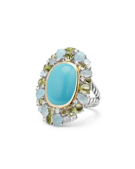David Yurman Mustique Cabochon Turquoise Flower Ring with