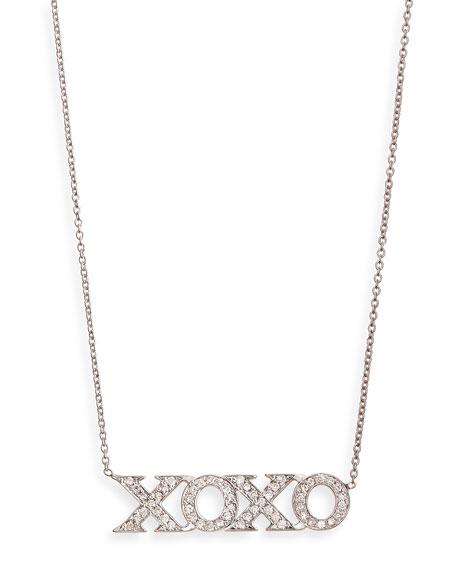 18k White Gold Diamond XOXO Necklace