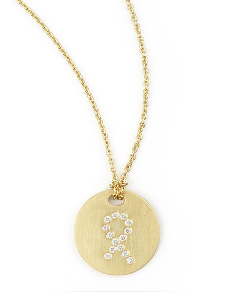 Roberto Coin Diamond Ribbon Medallion Necklace