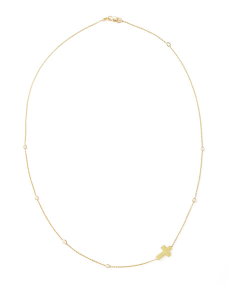 Integrated Diamond Cross Necklace, Yellow Gold
