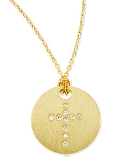 Tiny Treasures Diamond & 18K Yellow Gold Cross Disc Pendant Necklace