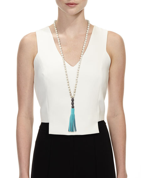 Rachel Leather Tassel Pendant Necklace