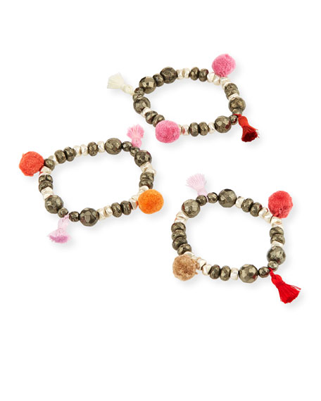 Bella B Mixed Pompom Bracelet Set