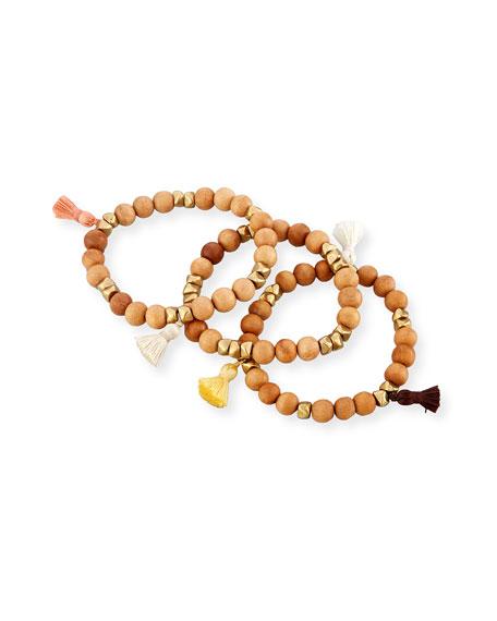 Isa B Wooden Stacking Bracelets, Set of Three