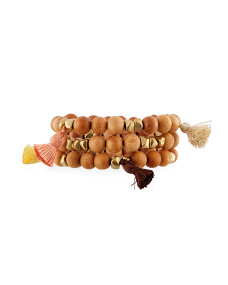 Hipchik Isa B Wooden Stacking Bracelets, Set of