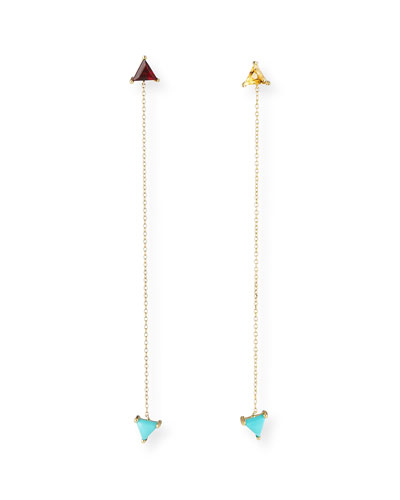 Glynda Turquoise, Citrine & Garnet Triangle Drop Earrings