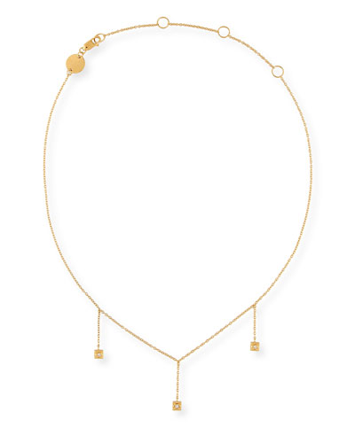 Carmen Chain Drop Choker Necklace with Diamonds