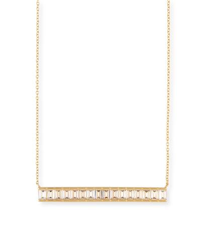 Zephyr Baguette White Sapphire Pendant Necklace