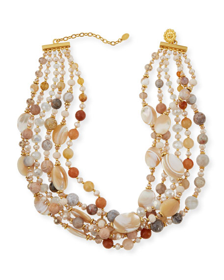 Twist Beaded Agate & Druzy Necklace