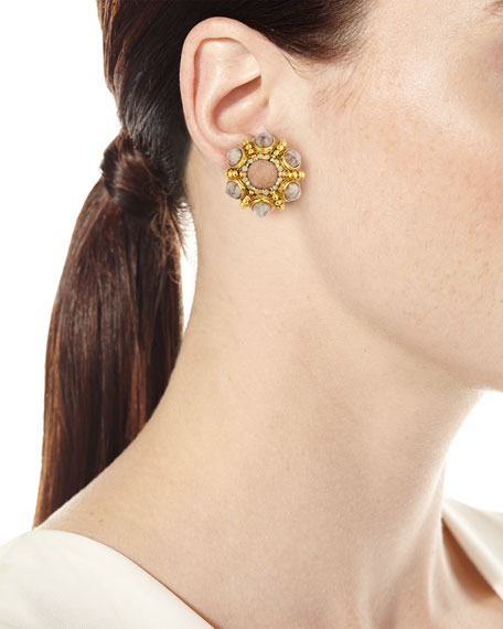 Cabochon Beaded Button Clip Earrings, Beige/Golden