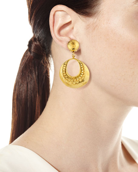 Hammered Open Hoop Drop Clip Earrings