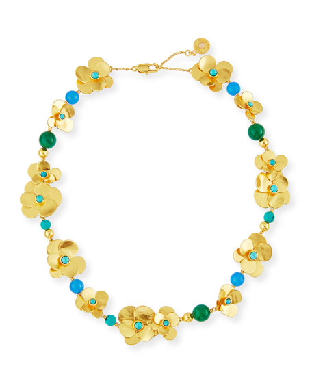 Golden Flower Petal Statement Necklace