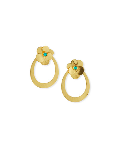 Golden Flower Petal Hoop Earrings