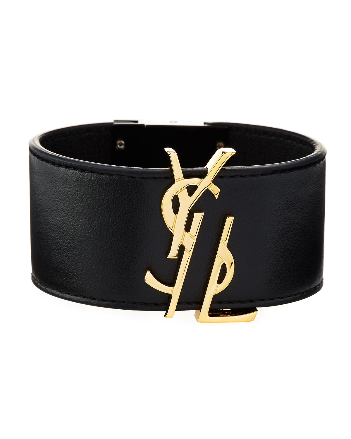 f0c0cfb88c0 Saint Laurent YSL Leather Cuff Bracelet, Black | Neiman Marcus