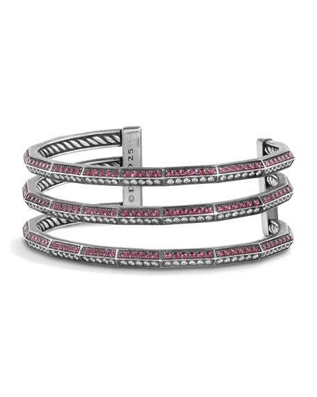 David Yurman Stax Three-Row Bracelet with Rubies &